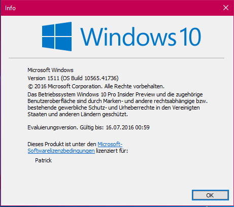 Windows 10 TH2 Version